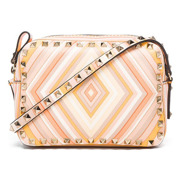VALENTINO Rockstud 1975 crossbody bag - Printed leather with leather lining and pale gold-tone...
