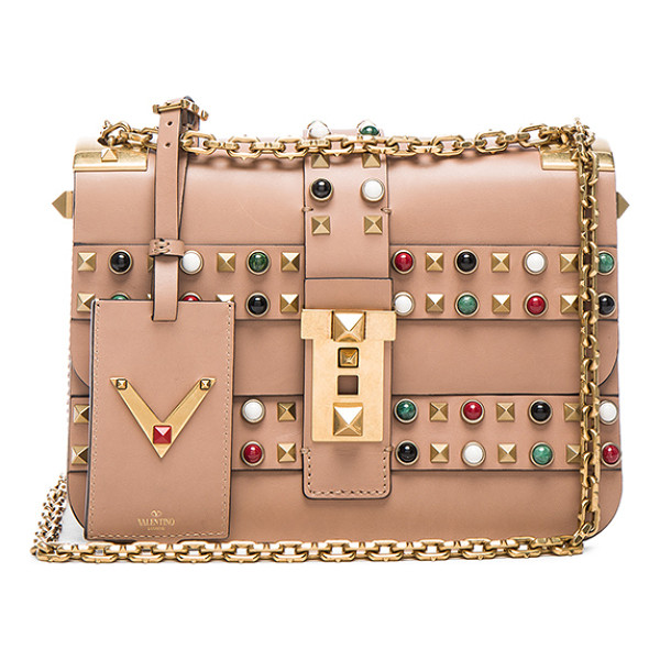 VALENTINO Rockstud Rolling Bag - Genuine leather with raw lining and gold-tone hardware. ...