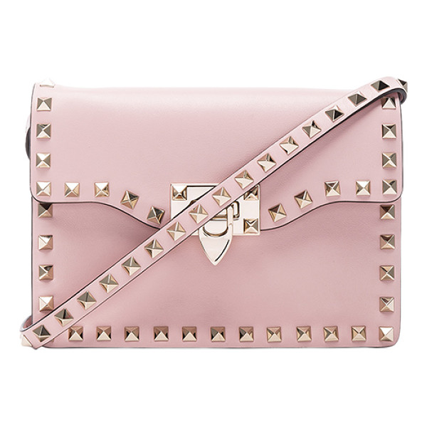 VALENTINO Small Rockstud Shoulder Bag - Genuine leather with twill lining and pale gold-tone...