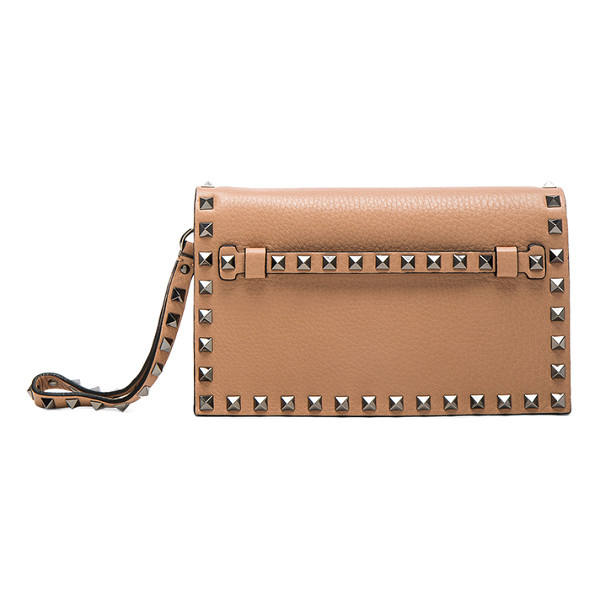 VALENTINO Rockstud Small Clutch - Genuine grained leather with suede lining and gunmetal-tone...