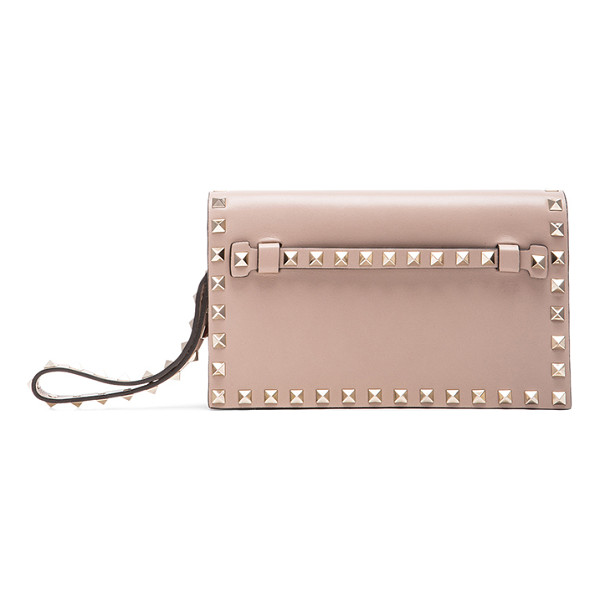 VALENTINO Rockstud small clutch - Genuine leather with leather lining and gold-tone hardware....