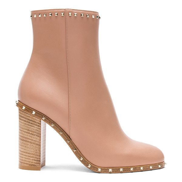 VALENTINO Rockstud Trim Leather Booties - Leather upper and sole.  Made in Italy.  Shaft measures...