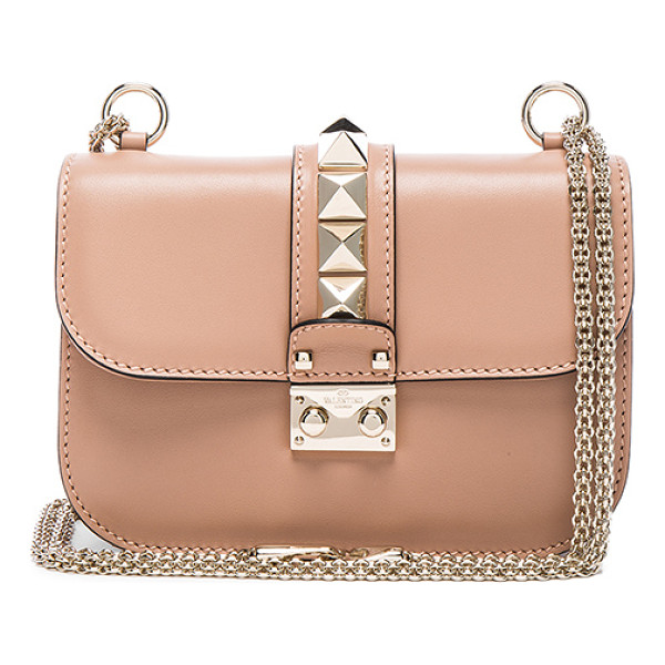 VALENTINO Small Lock Flap Bag - Genuine leather with fabric lining and gold-tone hardware....