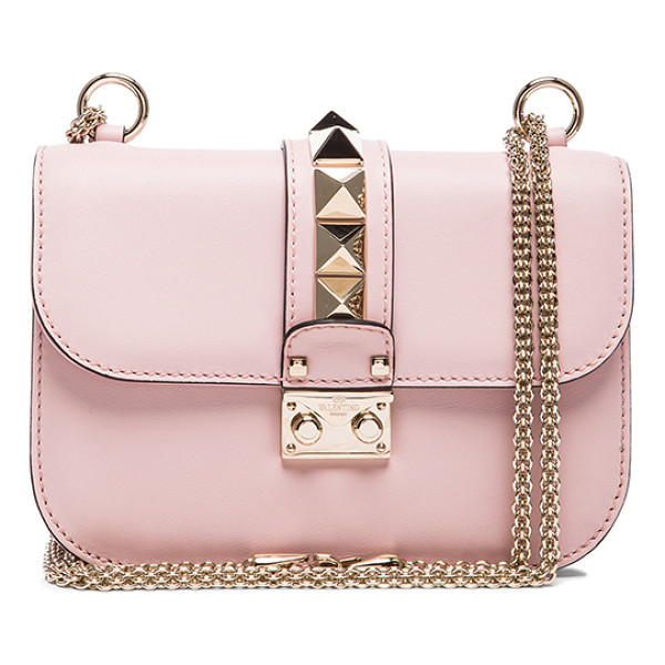 VALENTINO Small Lock Flap Bag - Genuine leather with twill lining and pale gold-tone...