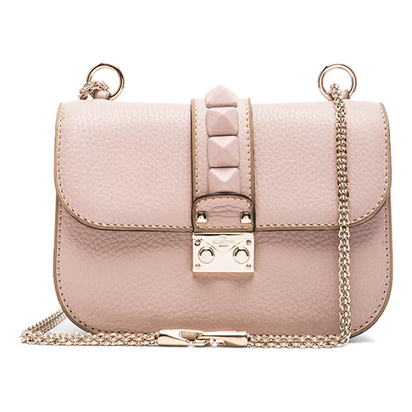VALENTINO Small Lock Shoulder Bag - Genuine leather with fabric lining and gold-tone hardware. ...