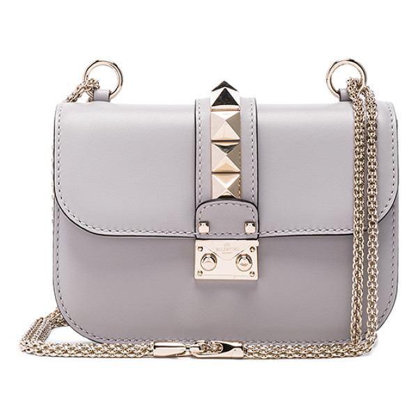 VALENTINO Small Lock Shoulder Bag - Genuine leather with twill lining and pale gold-hardware.