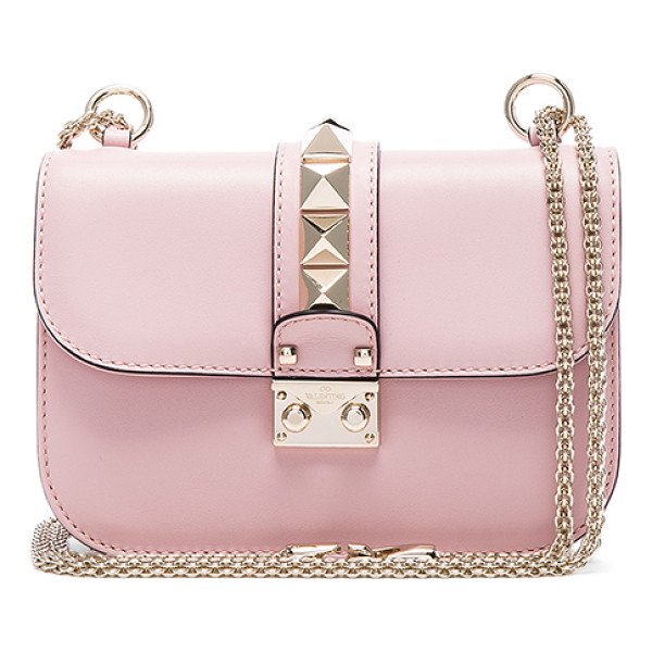 VALENTINO Small Lock Shoulder Bag - Genuine leather with twill lining and pale gold-tone