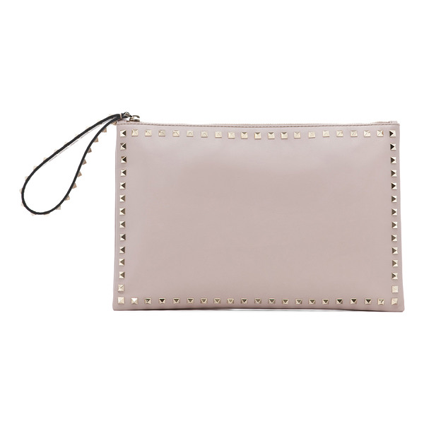 VALENTINO Small rockstud clutch - Calfskin leather with canvas lining and gold-tone hardware....