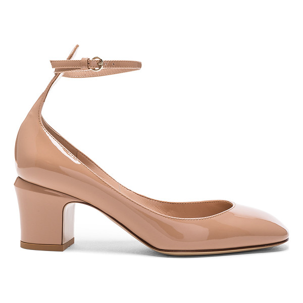 VALENTINO Patent Leather Tan-Go Pumps - Patent leather upper with leather sole. Made in Italy.