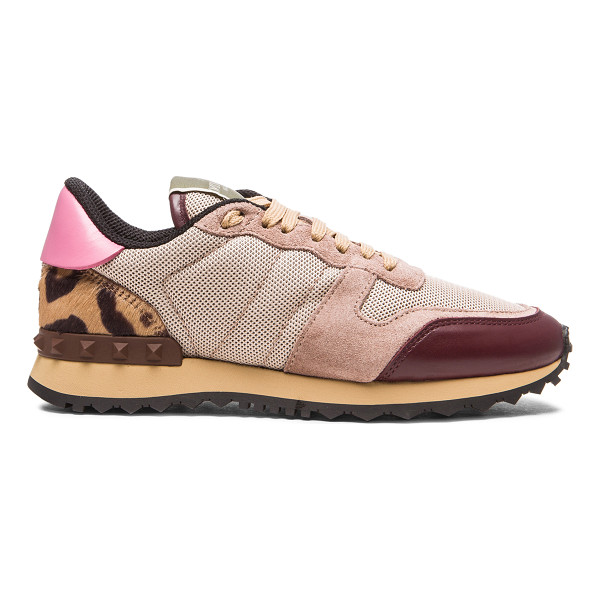 VALENTINO Trainers - Real natural colored calf hair and suede upper with rubber...