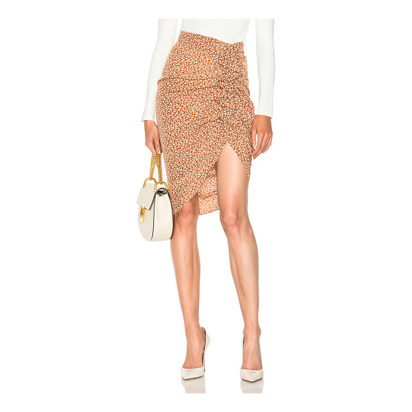 VERONICA BEARD Hazel Side Ruched Ruffle Skirt - 100% silk.  Made in China.  Dry clean only.  Ruffled fabric...