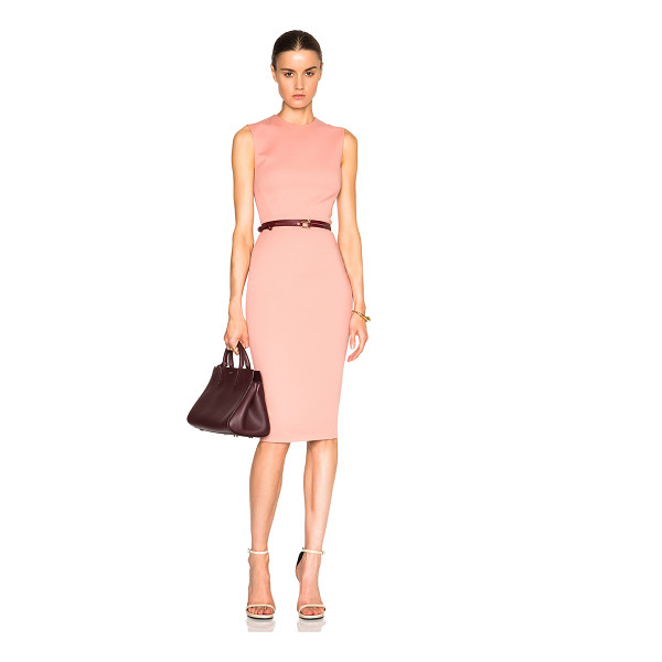 VICTORIA BECKHAM Microbrush Sleeveless Fitted Dress with Belt - Self: 52% cotton 43% poly 5% elastan - Lining: 100% silk -...