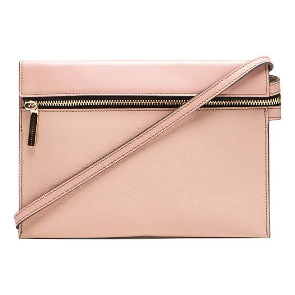 VICTORIA BECKHAM Zip pouch cross body - Calfskin and buffalo leather features canvas lining with...