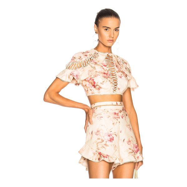ZIMMERMANN Corsair Flutter Lace Up Top - Self: 100% linen - Lining: 100% cotton.  Made in China. ...
