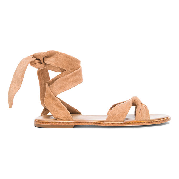 ZIMMERMANN Loop knot ankle tie suede sandals - Suede upper with leather sole.  Made in Brazil.  Wrap...