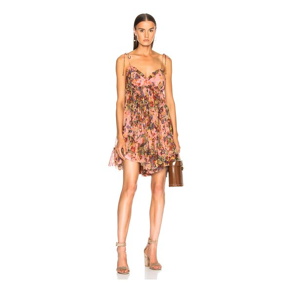 ZIMMERMANN Lovelorn Frill Mini Dress - Self: 100% silk - Lining: 100% poly.  Made in China.  Dry...
