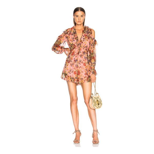 ZIMMERMANN Lovelorn Frill Playsuit - Self: 100% silk - Lining: 100% poly.  Made in China.  Dry...