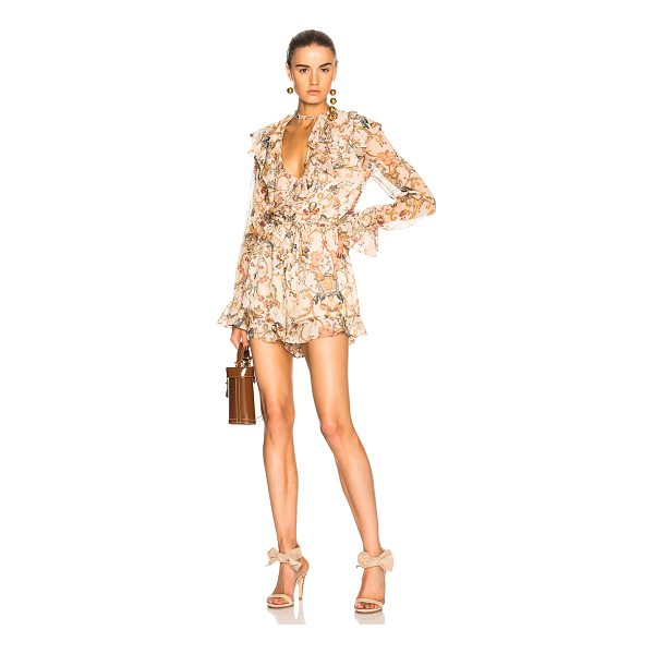 ZIMMERMANN Painted Heart Cascade Playsuit - Self: 100% silk - Lining: 100% viscose.  Made in China. ...