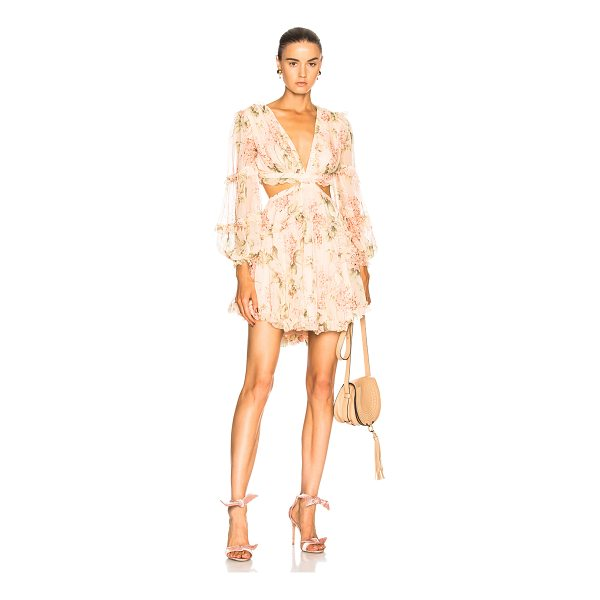 ZIMMERMANN Prima Floating Cut Out Dress - Self: 100% silk - Lining: 100% poly.  Made in China.  Dry...