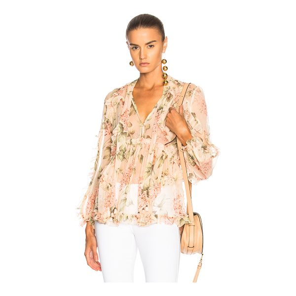 ZIMMERMANN Prima Floating Top - 100% silk.  Made in China.  Dry clean only.  Front neckline...