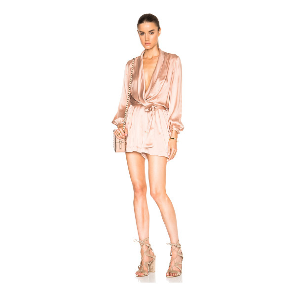 ZIMMERMANN Suede silk wrap romper - Self: 100% silk - Lining: 100% poly.  Made in China. ...