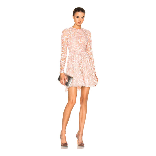 ZUHAIR MURAD Embroidered Long Sleeve Mini Dress - 50% polyamide 50% silk.  Made in Lebanon.  Dry clean only. ...