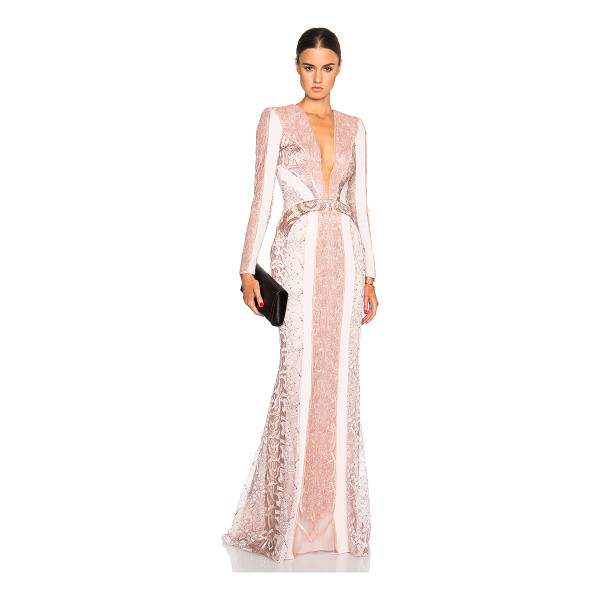 ZUHAIR MURAD Lace panel & beading gown - Self: 94% viscose 6% elastan - Contrast Fabric: 80% poly...
