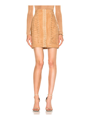 Balmain Suede Lace Up Mini Skirt