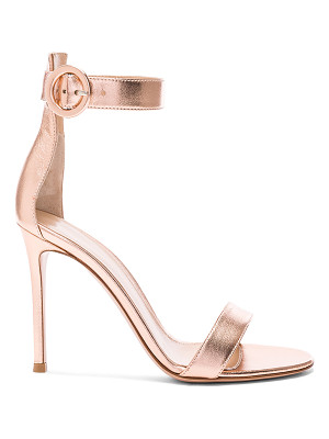 GIANVITO ROSSI Metallic Leather Ankle Strap Heels