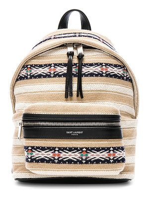 SAINT LAURENT Toy Canvas & Leather Ikat Strap City Backpack