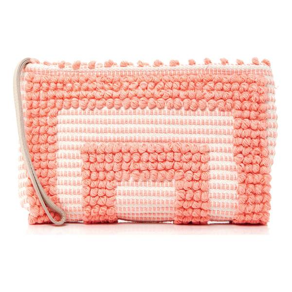 ANTONELLO Tula Geometric Clutch - This clutch by *Antonello* features monochromatic pompoms