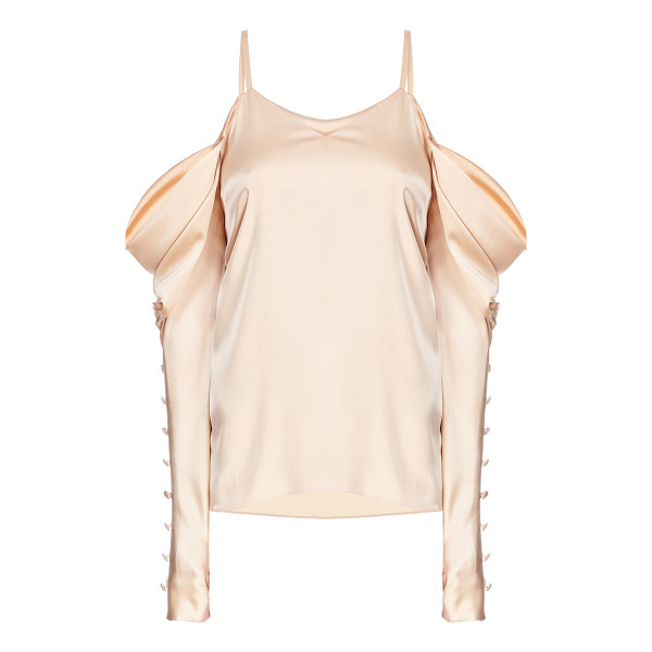 FLOW THE LABEL Gold Draped Cold Shoulder Blouse - This *Flow The Label* Gold Draped Cold Shoulder Blouse...