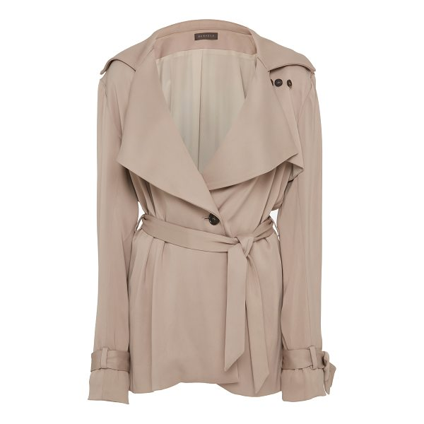 HENSELY Knot Trench Jacket - This *Hensely* Knot Trench Jacket features a surplice...