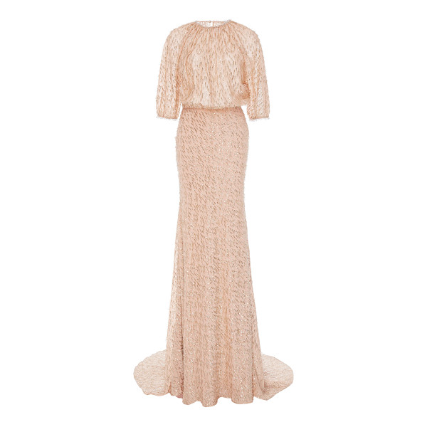 LELA ROSE Blouson Top Gown - This *Lela Rose* dress features a round neckline puff...