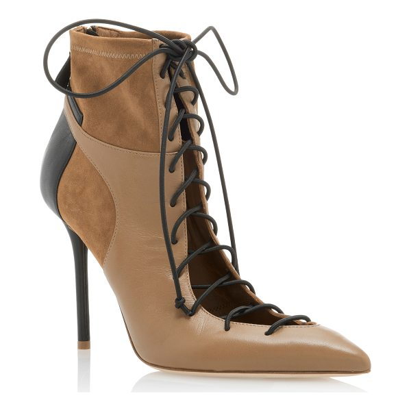 MALONE SOULIERS Montana Leather-Paneled Suede Ankle Boots - * Pointed-toe silhouette * Heel measures approximately 4...