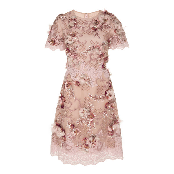 MARCHESA Floral Embellished Cocktail Dress - This *Marchesa* dress features a rounded neckline beaded...