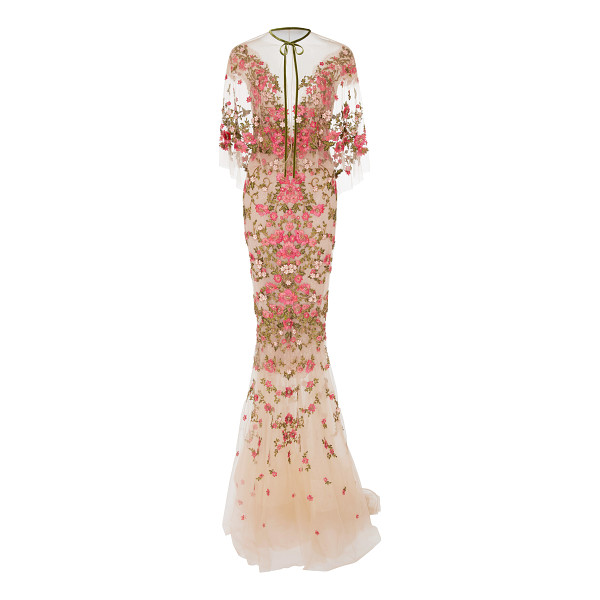 MARCHESA Floral Embroidered Dress With Capelet - Rendered in silk this *Marchesa* gown features an illusion...