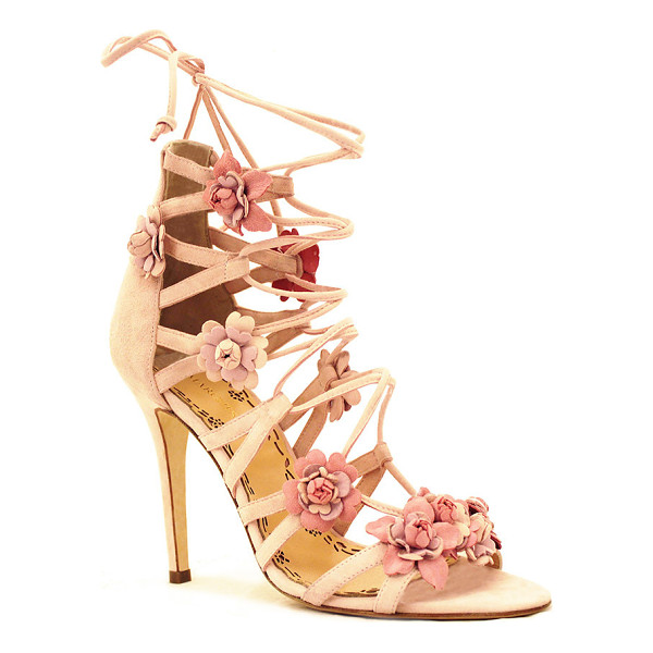 MARCHESA Gianna Floral Sandal - This *Marchesa* sandal is rendered in suede and features a...