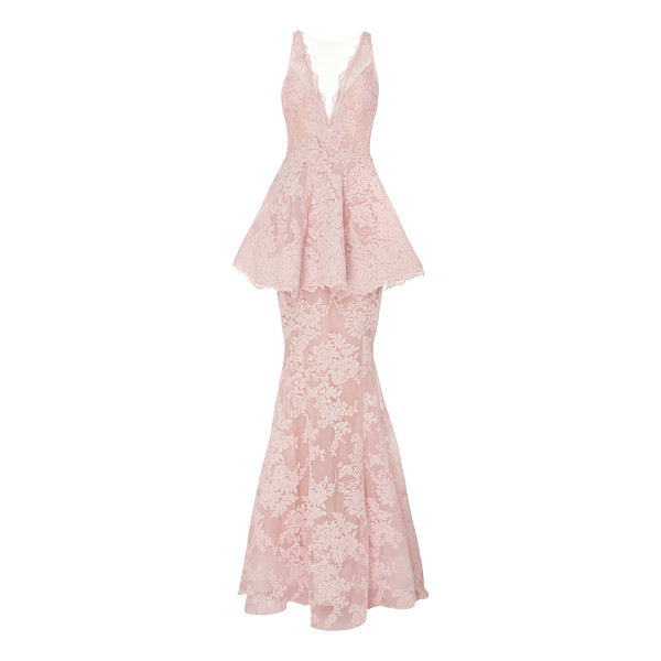 MARCHESA Lace Peplum Gown - This *Marchesa* gown features a plunging V neckline a...