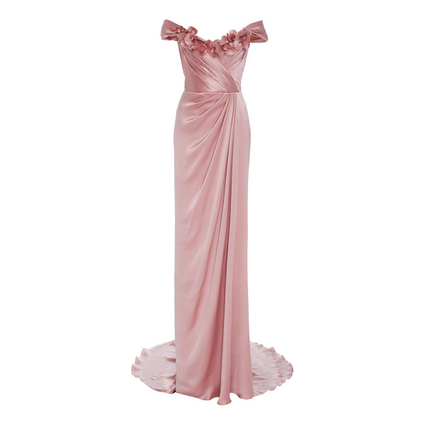 MARCHESA Off the Shoulder Satin Gown - This *Marchesa* gown features an off the shoulder neckline...