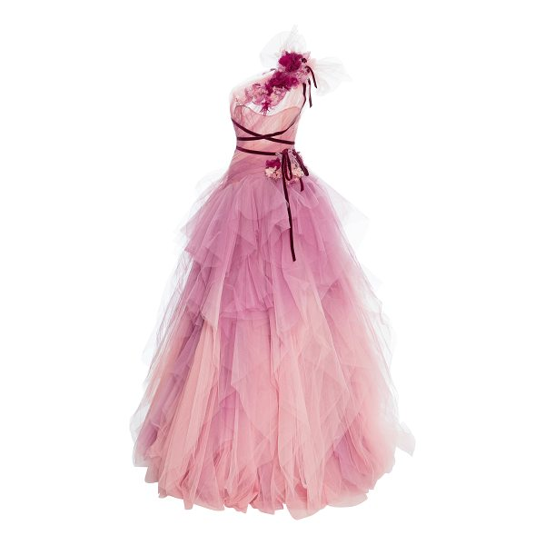 MARCHESA Ombre Tulle Gown - This *Marchesa* gown features a draped one shoulder strap...