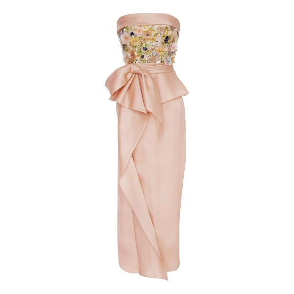 MARCHESA Sequin Embroidered Tea Length Dress - Rendered in silk this *Marchesa* dress features a strapless...