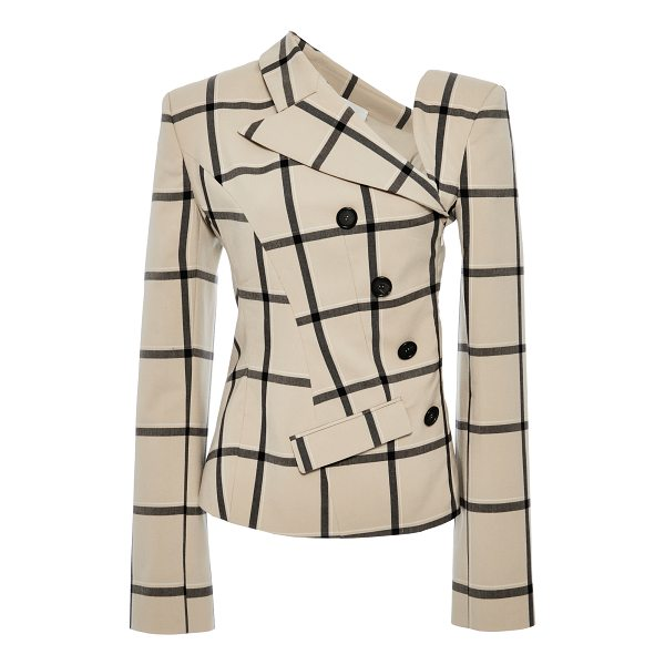 MONSE Louise Plaid Twisted Jacket - This twisted jacket by *Monse* features a notched neckline...