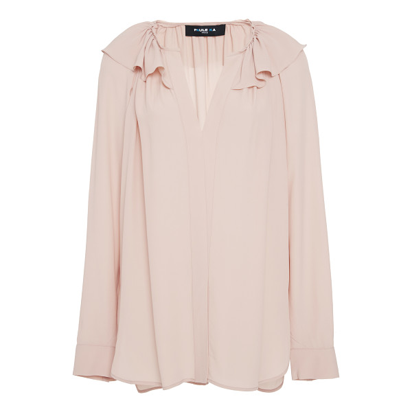 PAULE KA Crepe Chiffon Blouse - This *Paule Ka* blouse features a v-neckline ruffles at the...