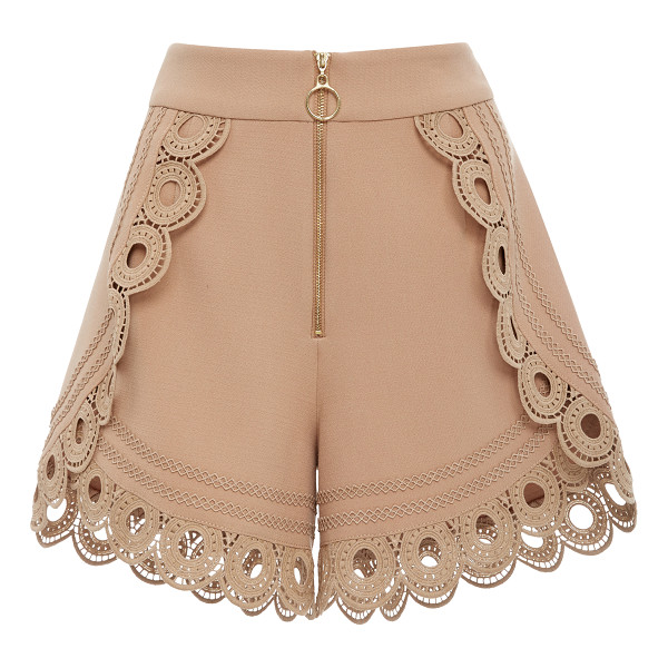 SELF-PORTRAIT Lace-Trimmed High-Rise Shorts - Self Portrait's shorts are cut in a supremely flattering...