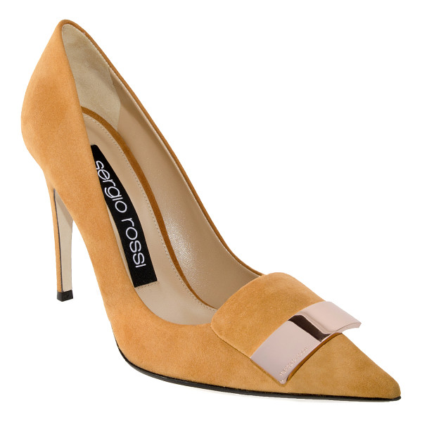 SERGIO ROSSI SR1 Suede Placked Pump - This *Sergio Rossi* pump is rendered in suede and features...