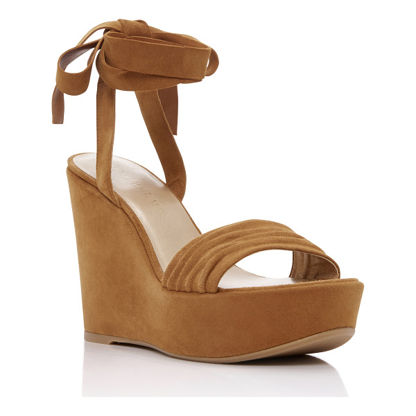STUART WEITZMAN Swifty Wedge Sandals - This Stuart Weitzman wedge rendered in a deep tan suede