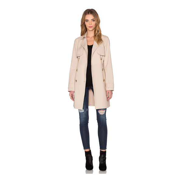 1. STATE Doubleweave Trench Coat - Poly blend. Dry clean only. Button front closure. Side welt...