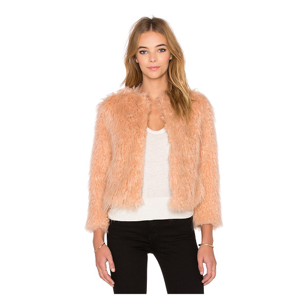 1. STATE Faux fur jacket - 55% acrylic 45% modacrylic. Dry clean only. Hook front...