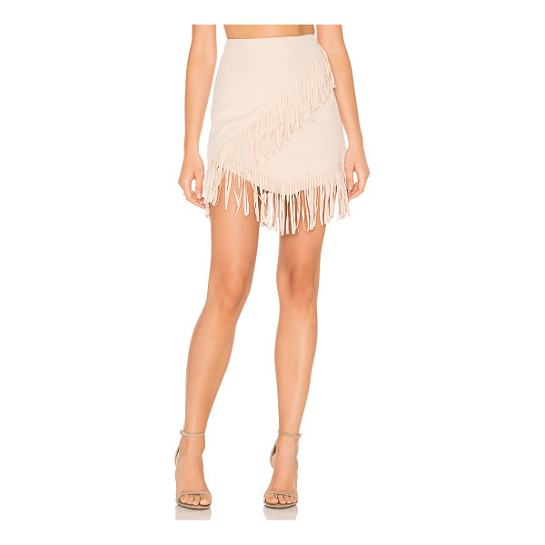 "1. STATE Fringe Wrap Faux Suede Mini Skirt - ""91% poly 9% spandex. Unlined. Back hidden zipper closure...."